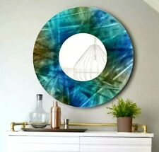 Metal Wall Mirror Art BEAUTIFUL Abstract Blue MIRROR Decor  ORIGINAL Jon Allen