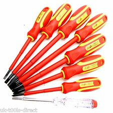 8pc VDE Insulated Electrical Screwdriver Set Magnetic & Tester 1000volt PH Flat