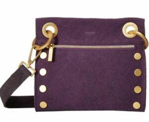 Hammitt Tony Grape Soda Sparkle Buffed Leather Gold Stud Small Crossbody Handbag