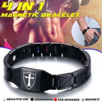 Arthritis Men's Cross Knight Carbon Fiber Magnetic Bracelet Pain Relief  QZ