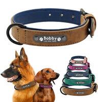 Soft Leather Pet Dog Collar Personalised ID Nameplate Engrave Adjustable Bulldog