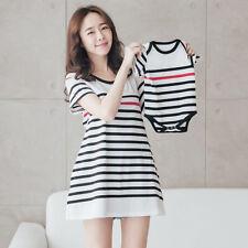2 Pcs/Set Parent-child Outfit Short Sleeve Dresses  Breastfeeding Clothes