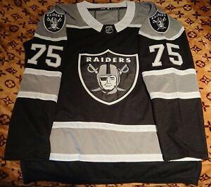 NHL MLB Replica Black Oakland Raiders Hockey Jersey. Name on back LONG,#75 2XL