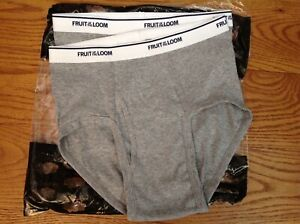 FRUIT OF THE LOOM (NEW) LOT 2 BOY'S SIZE LARGE GRAY BRIEFS 90% COTTON UNDERWEAR