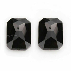 18mm 5pcs Rectangle Square Faceted Crystal Glass Charm Beads Spacer Loose DIY#