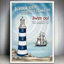SEASIDE LIGHTHOUSE PRINT BEACH SHIP INSPIRATIONAL QUOTE PICTURE VINTAGE WALL ART