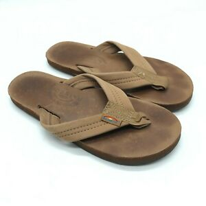 Rainbow Womens Flip Flop Sandals Thong Leather Slip On Brown Size 6