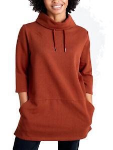 SEASALT ladies Sweatshirt size 10 18 20 Burnt Orange Gwenver pockets longline
