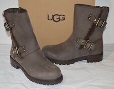 New $228 UGG Niels Stout Brown Leather Motorcycle Buckle Boots sz 6.5 Shearling