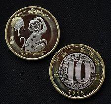 China 2016 Lunar Zodiac Monkey 生肖猴 10 YUAN bimetallic Coin UNC (with folder)