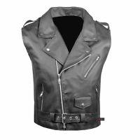 Men's Classic Leather Motorcycle Biker Concealed Carry Vintage Vest Black