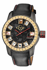 GV2 By Gevril Men's 9305 Lucky 7 Automatic Black Leather Wristwatch