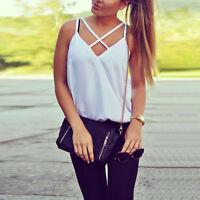 Fashion Women's New Vest Top Shirts Blouse Casual Tank Tops T-Shirt White Shirt