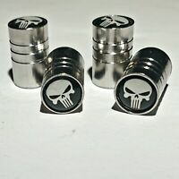 4 Ventilkappen Punisher passend für Autoreifen - Auto - Chrom - Metall - Weiß