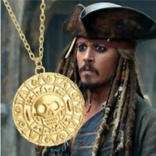 FREE GIFT BAG Gold Plated Pirates of Caribbean Aztec Coin Necklace Chain Xmas