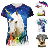 Unicorn 3D Print Womens Mens T Shirt Short Sleeve Graphic Tee Casual Tops S-3XL