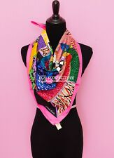 "NEW HERMES 90 cm 36"" PINK A TRAVERS CHAMPS SILK TWILL SCARF SHAWL CARRE WRAP fb8"