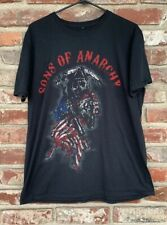 MEN'S SIZE LARGE SONS OF ANARCHY ROAD GEAR BLACK L T SHIRT GRIM REAPER USA FLAG