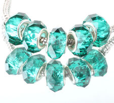 5pcs silver spacer beads fit Charm dark blue crystal European Bracelet DIY C#359