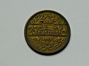 Lebanon 1952 10 PIASTRES Coin with Cedar Tree (Lebanese National Symbol)