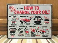 How To Change Your Oil Metal Sign Garage Truck Car Vintage Style Gas Oil Bar Pub