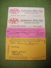 DALTON PA.DRIVER'S LICENSE REGISTRATION & 2 AAA  CARDS Norman  Brauer 1959 1960