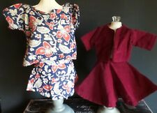 4 Piece Vintage Lot 2 Matching Tops and Skirts for 1950 Era Hard Plastic Dolls