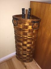 VINTAGE Wicker Woven Corner Umbrella Walking Stick Cane Badminton Basket Fomerz