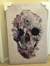 "Ali Gulec Floral Skull # 2 Canvas 40x26 , 1.5"" Depth"
