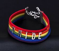 Rainbow Gay Pride PRIDE LETTERS, Handmade Wide Statement Bracelet LGBT Gay Pride