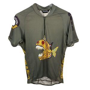 Vintage Cannondale Cycling Jersey M Rare Headshok Fish Print Polyester USA