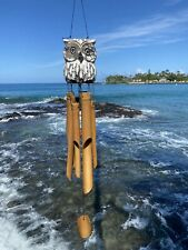 Owl Wood and Bamboo Wind Chime. Hand Crafted Gift of Hawaii Island Decor.