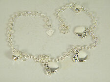 ANKLE BRACELET:  SWEET APPLES AND BELLS 10.5 INCHES 925 STERLING SILVER