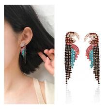 Women Personality Earrings Bling Full of Rhinestone Parrot Large Dangle Jewelry