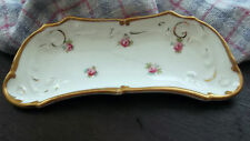 VINTAGE  SMALL SHAPED CAULDON DISH WITH A PINK FLOWER PATTERN ?BONE PLATE