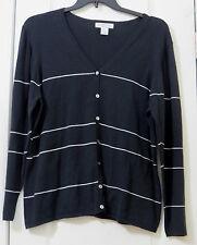 Woman's Plus Size 1X Lightweight Button-down B&W Cotton Cardigan; Sutton Studio