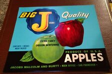 BIG J Apple CRATE LABEL VINTAGE ADVERTISING Jacobs San Francisco, California