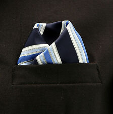 "Pocket Square Mens Hanky Navy Blue Gray Striped 10"" Dress Suit Handkerchief New"
