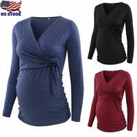 Pregnant Women Cross V Neck Long Sleeve Tops Shirt Long Sleeve Maternity Blouse
