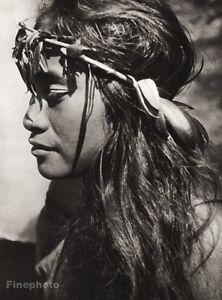 1934 Vintage 11x14 ~ POLYNESIA ~ Native Woman Flowers Photo Art ~ PIERRE VERGER