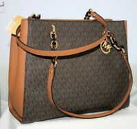 New Michael Kors Sofia MK Signature Bag Large Chain Tote Purse Brown