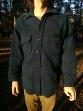 Vintage WOOLRICH Blue Plaid Mackinaw Wool Hunting Coat Jacket Sz LARGE Flannel