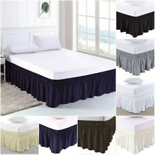 "Elastic Wrap Around Bed Skirt Dust Ruffled 15"" Drop Wrinkle Resistant Easy Fit"