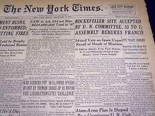 1946 DEC 13 NEW YORK TIMES - ROCKEFELLER SITE ACCEPTED U. N. COMMITTEE - NT 843