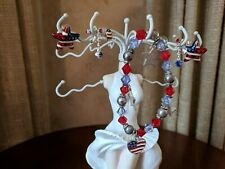 Patriotic 4th of July Jewelry Lot: Bracelet, Earrings Red White & Blue Usa