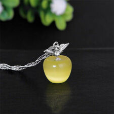 Elegant Women 925 Silver Plated Apple Pendant Necklace Choker Chain Jewelry Gift