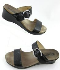 Mephisto Dual Strap Buckle Wedge Sandals Black Crinkle Leather Sz 40 EU / 10 US