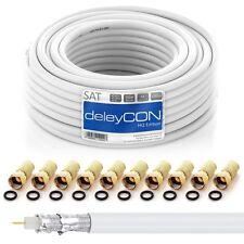 10m 130dB SAT Koaxialkabel Antennenkabel Digital SAT Koax Kabel HDTV F-Stecker