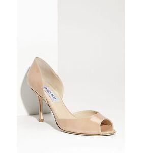 NIB Jimmy Choo LOGAN d'Orsay Open Toe Pump Heel Shoe Beige Nude Patent 37.5 - 7