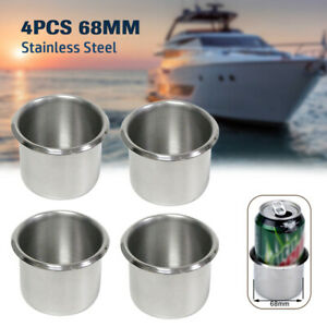4PCS Stainless Steel Cup Drink Holders Boat Car Truck Trailer Camper RV Bravo